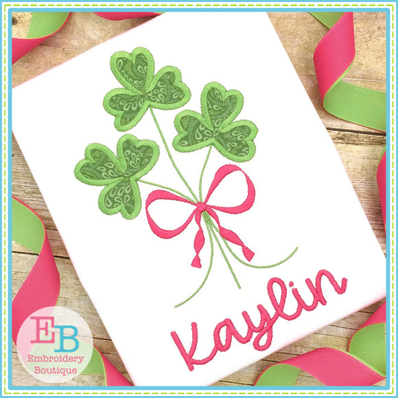 Clover Bunch Satin Applique, Applique
