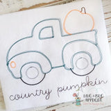 Truck Pumpkin Sketch Embroidery Design, embroidery