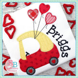 Coupe Heart Balloons Zigzag Applique, Applique