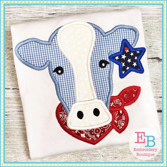 cow applique, cow bandana applique, patriotic cow applique, cow star applique