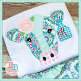 Cow Rose Blanket Stitch Applique, Applique