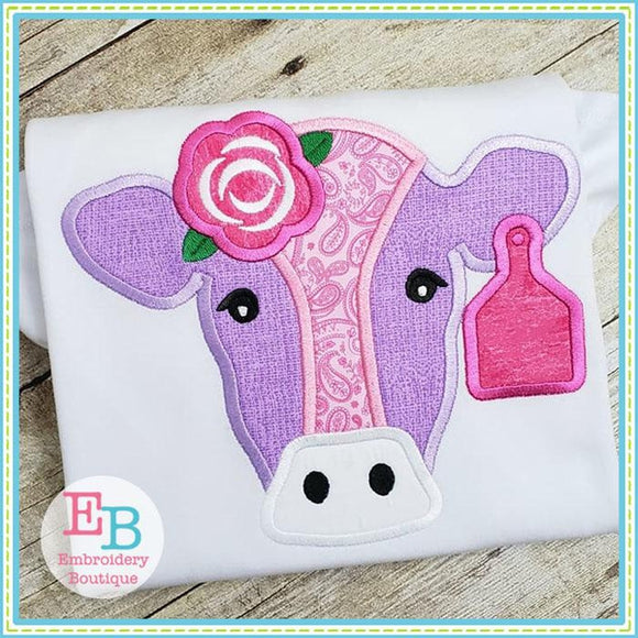Cow Rose Applique, Cow Applique