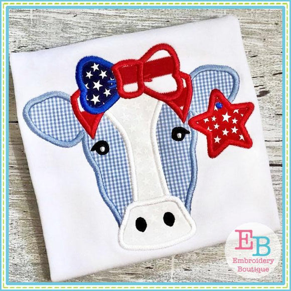 Cow Bow Star Applique