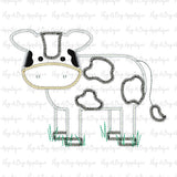 Cow Body Zig Zag Stitch Applique Design, Applique