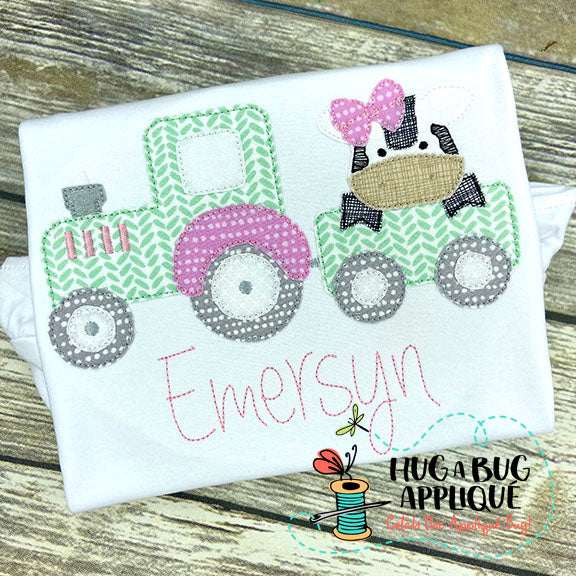 Cow Bow Tractor Bean Stitch Applique Design-Embroidery Boutique