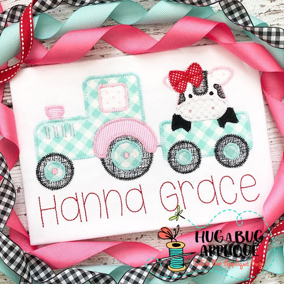 Cow Bow Tractor Zig Zag Stitch Applique Design-Embroidery Boutique