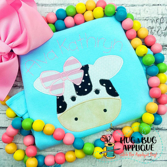 Cow Bow Zig Zag Stitch Applique Design, Applique