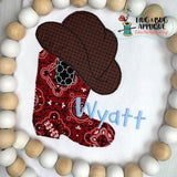 Cowboy Boot Hat Bean Stitch Applique Design, Applique