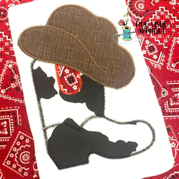 Cowboy Boot Hat Zig Zag Stitch Applique Design, Applique
