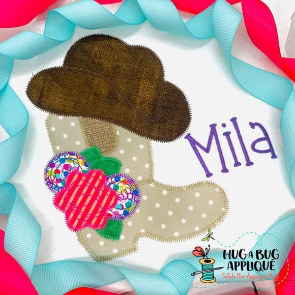 Cowgirl Boot Hat Zig Zag Stitch Applique Design, Applique