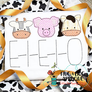 Cow Pig Horse Trio Bean Stitch Applique Design-Embroidery Boutique