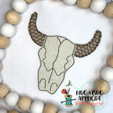 Cow Skull Bean Stitch Applique Design, Applique