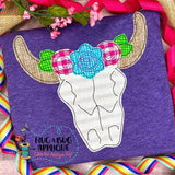 Cow Skull Flowers Bean Stitch Applique Design, Applique
