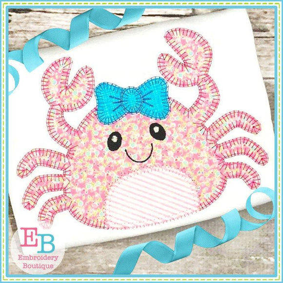 Crab Bow Blanket Stitch Applique - Embroidery Boutique