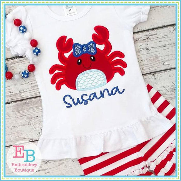 Crab Bow Applique - Embroidery Boutique
