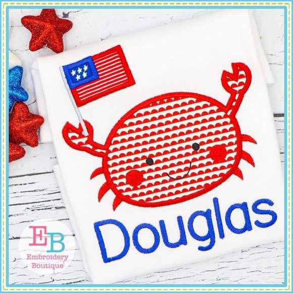 Crab Flag Boy Applique, Applique