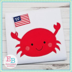 Crab Flag Boy Zigzag Applique, Applique