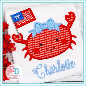 Crab Flag Girl Applique - embroidery-boutique