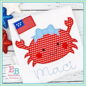 Crab Flag Girl Zigzag Applique - embroidery-boutique