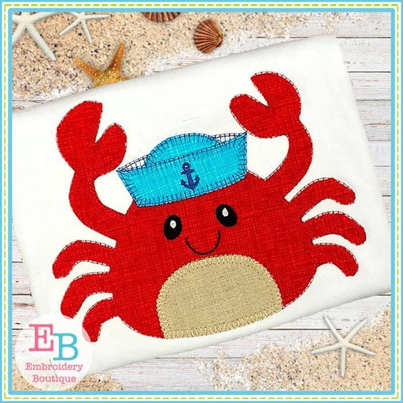 Crab Hat Blanket Stitch Applique, Applique