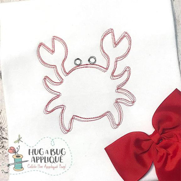 Crab Scribble Sketch Stitch Embroidery Design, Embroidery