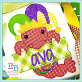 Crawfish Hat Banner Applique, Applique