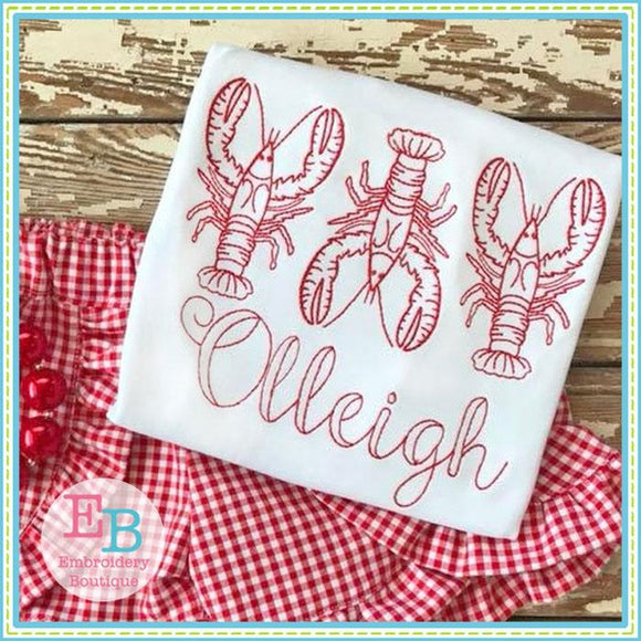 Crawfish Trio Embroidery Design, Embroidery