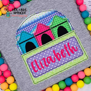 Crayon Box Bean Stitch Applique Design