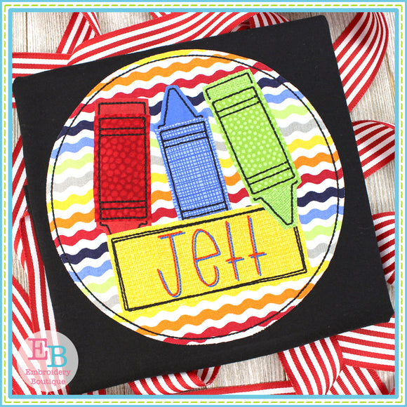 Crayon Name Circle Bean Applique, Applique