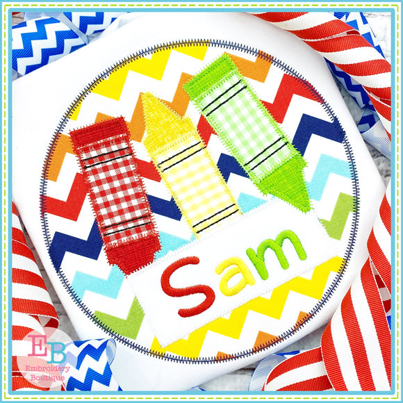 Crayon Name Circle Zigzag Applique, Applique
