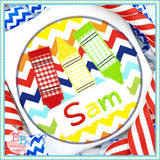 Crayon Name Circle Zigzag Applique-Embroidery Boutique