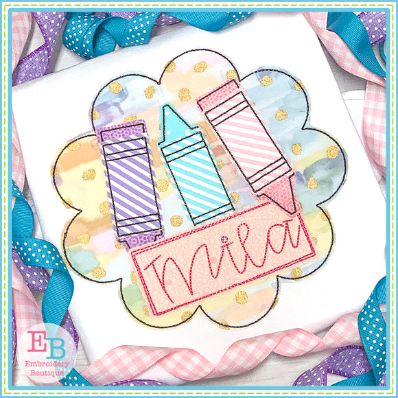 Crayon Name Girl Circle Applique, Applique