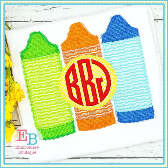 3 Crayons with Circle Zigzag Applique