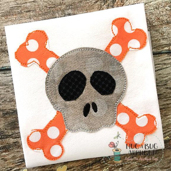 Cross Bones Bean Stitch Applique Design, Applique