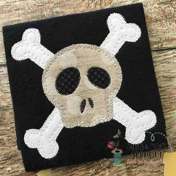 Cross Bones Blanket Stitch Applique Design, Applique