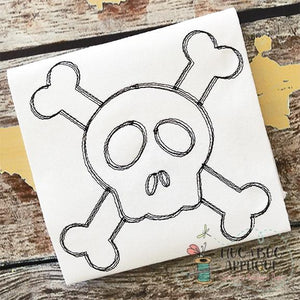 Cross Bones Scribble Embroidery Design, Embroidery