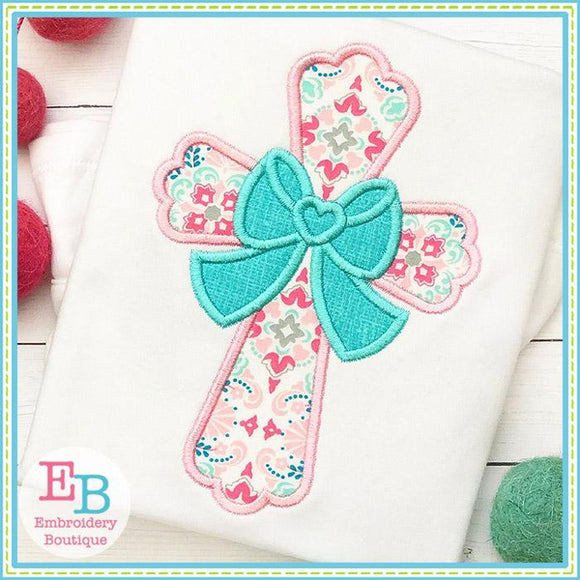 Cross with Big Bow Satin Applique