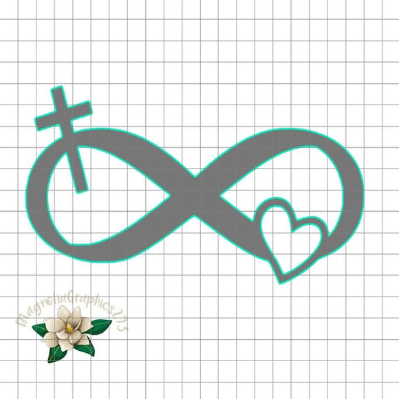 Infinity Cross Heart Christian PNG Printable Design, Printable