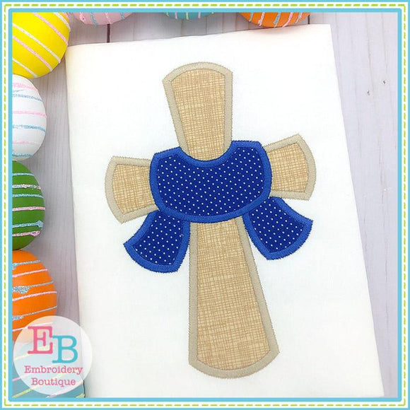 Cross with Sash Satin Applique