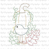 Crow Pumpkin Leaves Bean Stitch Applique Design, Applique