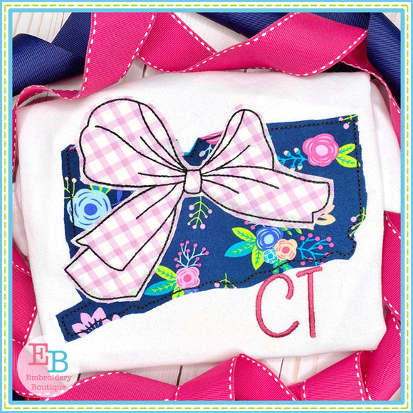 Big Bow Connecticut Bean Stitch Applique, Applique
