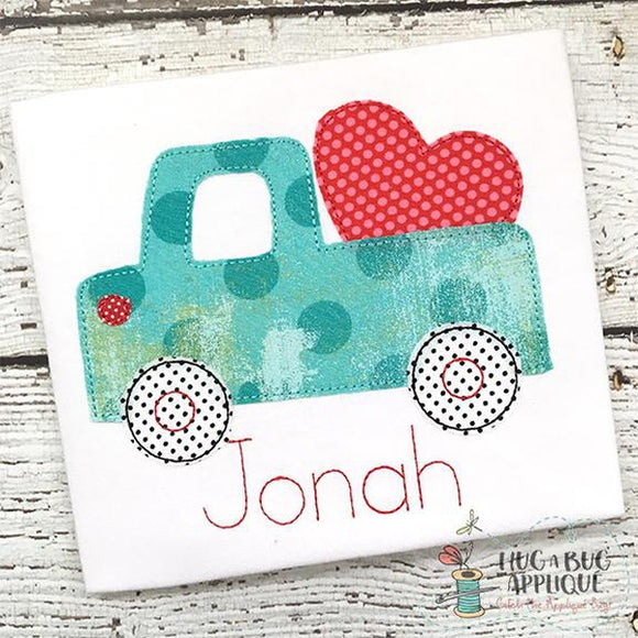 Cute Truck Heart Bean Stitch Applique Design, Applique