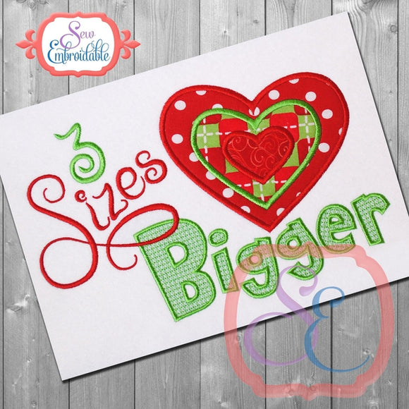 3 Sizes Bigger Applique - embroidery-boutique
