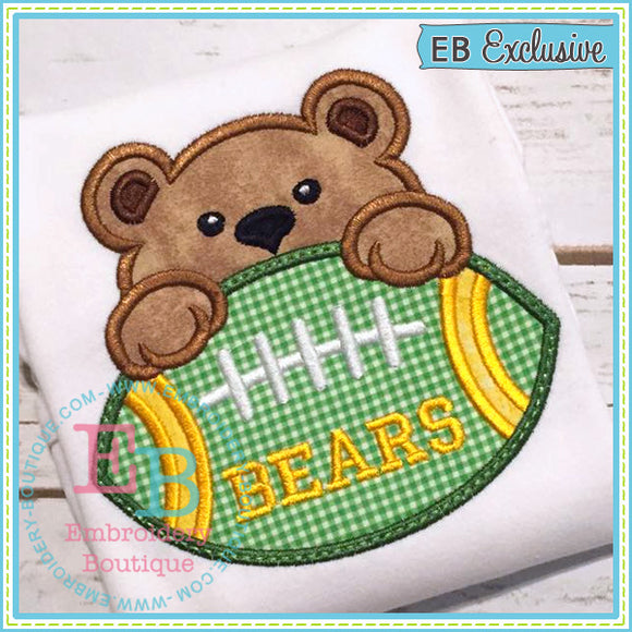 Football Bear Boy Applique, Applique