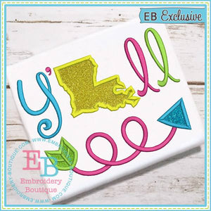 Y'all Louisiana Applique - embroidery-boutique