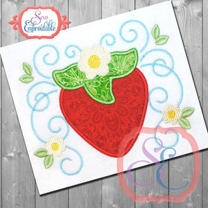 Strawberry Swirls Applique, Applique