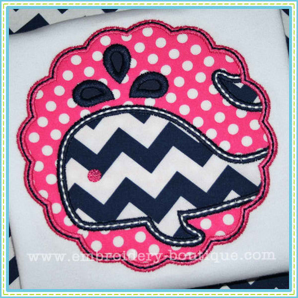 Scalloped Whale Patch Applique - embroidery-boutique