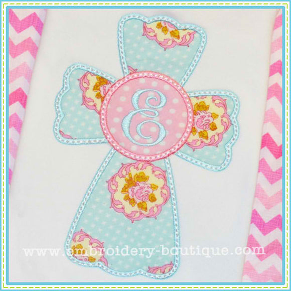 Circle Cross Applique - embroidery-boutique