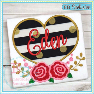 Heart Roses Applique