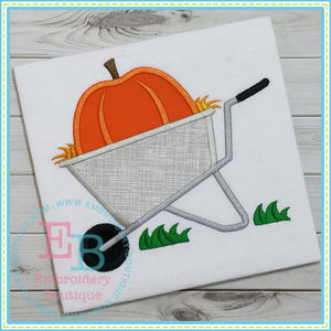 Wheelbarrow Pumpkin Applique, Applique